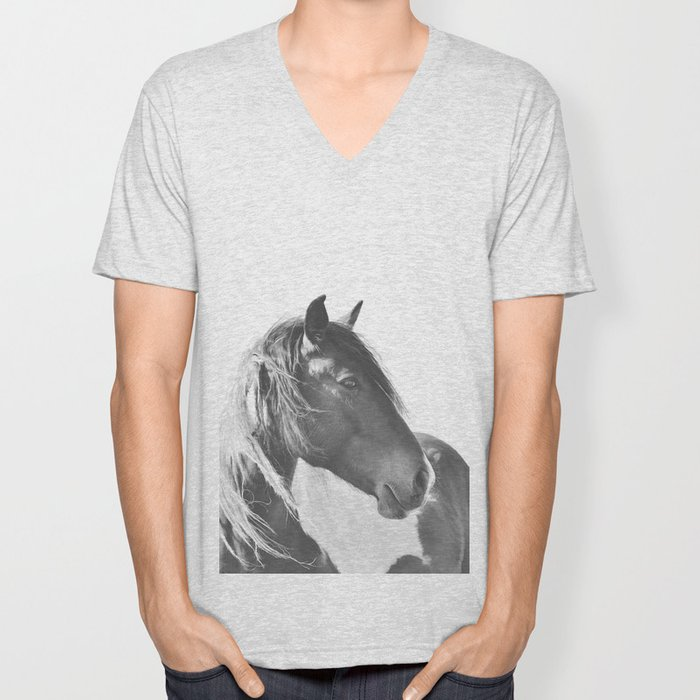 Stallion in black and white Unisex V-Neck