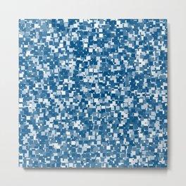 Snorkel Blue Pixels Metal Print