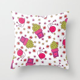 Abstract neon pink green funny snail cactus floral Throw Pillow