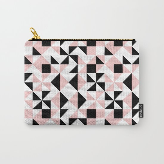 Eva - rose quartz quilt squares hipster retro geometric minimal abstract pattern print black pink Carry-All Pouch
