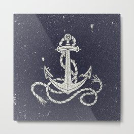 Navy Blue Nautical White Anchor for Sailor Texture Metal Print