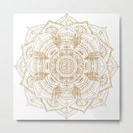Elegant White & Gold Mandala Hand Drawn Design Metal Print