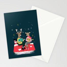Reindeer Christmas Carols by Andrea Lauren  Stationery Cards