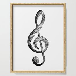 Distressed Music Clef Serving Tray