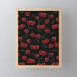 dark cherry pattern / fruity illustration Framed Mini Art Print