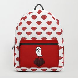 022 - Owly on the black heart red pattern Backpack