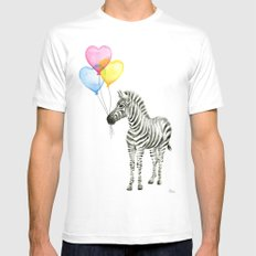 Zebra Watercolor With Heart Shaped Balloons Whimsical Baby Animals MEDIUM Mens Fitted Tee White