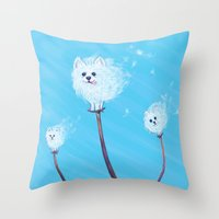 pomeranian Throw Pillows featuring Pomeranian Dandelions by Kate Oberg