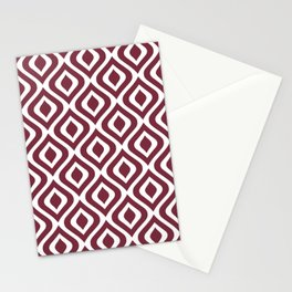 Mid Century Modern Diamond Ogee Pattern 143 Burgundy Stationery Cards