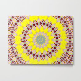 You Are My Sunshine Yellow and Pink Mandala Kaleidoscope A637A Metal Print
