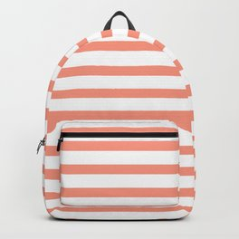 Seamless coral striped pattern on white Backpack