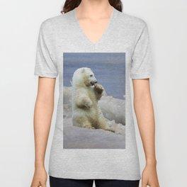 Cute Polar Bear Cub & Arctic Ice Unisex V-Neck