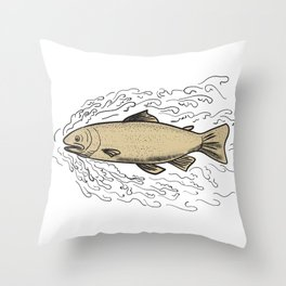 Brown Trout Waves Tattoo Throw Pillow