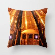 New York Queens Subway 7 Train Yard Throw Pillow