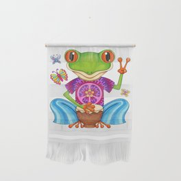 Peace Frog - Colorful Hippie Frog Art by Thaneeya McArdle Wall Hanging