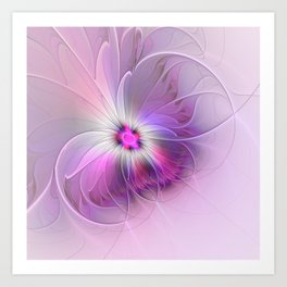 Abstract Flower With Pink And Purple Fractal Art Print