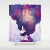 silence of the lambs Shower Curtains featuring Silence by pixply
