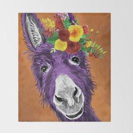 Colorful Donkey Art, Flower Crown Donkey Art Throw Blanket