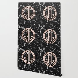 great Gatsby rose gold black marble Wallpaper