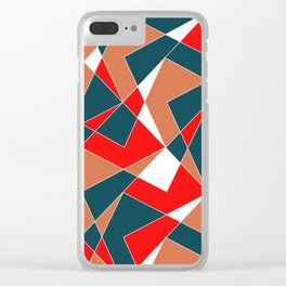 Broken Pattern (Red) Clear iPhone Case
