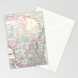 Vintage Map of Wisconsin (1855) Stationery Cards