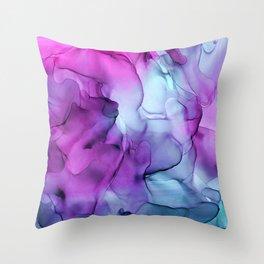 Abstract Mermaid Magenta Indigo Blue Ink Painting Throw Pillow