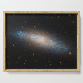 Celestial Sequins Photograph of Spiral Galaxy NGC 4455 - Coma Berenices (Berenice's Hair) Serving Tray