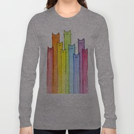 Cat Rainbow Watercolor Pattern Langarmshirt