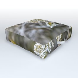 Frost covered tree leaves Outdoor Floor Cushion