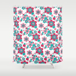Pink Raspberry Aqua Blue Floral  Shower Curtain
