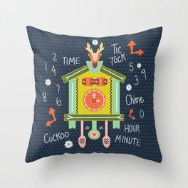 Tic Tock Cuckoo Clock Throw Pillow