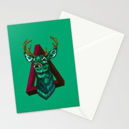 Green Stag Stationery Cards