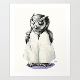 Miss Owl in Jumpsuit Art Print