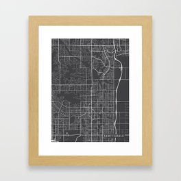 Scottsdale Map, Arizona USA - Charcoal Portrait Framed Art Print