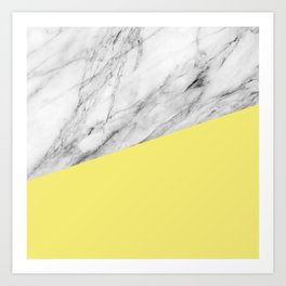 Marble and Yellow Color Art Print