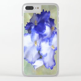 Blue Begonias Clear iPhone Case