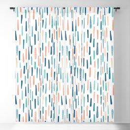 Hand drawn vertical textured maritime stripes. Blackout Curtain
