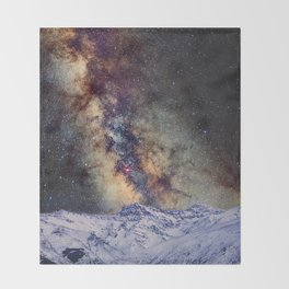 The star Antares, Scorpius and Sagitariuss over the hight mountains. The milky way. Throw Blanket
