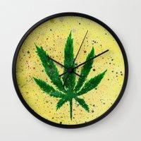 marijuana Wall Clocks featuring MARIJUANA by Sha Abdullah