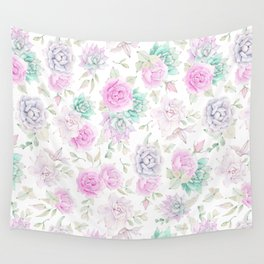 Pastel pink turquoise watercolor hand painted cactus floral Wall Tapestry