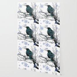 CROW/RAVEN IN WINTER TREE & SNOWFLAKES Wallpaper