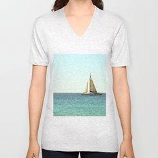 Sail Away with Me - Ocean, Sea, Blue Sky and Summer Sun Unisex V-Neck