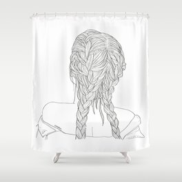 Woman with braids Shower Curtain