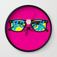 geek Wall Clocks featuring Geek by Aaron Synaptyx Fimister