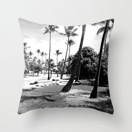 palm tree with cloudy sky in black and white Throw Pillow