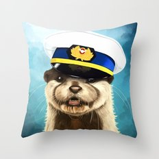Captain Otter Throw Pillow