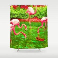Flaming Flamingo Shower Curtain