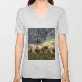 field of faded sunflowers  Unisex V-Neck
