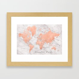 """Adventure awaits world map in rose gold and marble, """"Janine"""" Framed Art Print"""