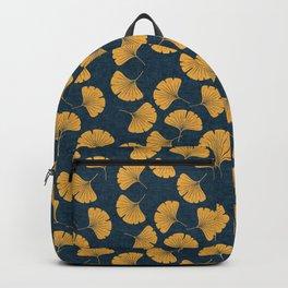 ginkgo leaves - saffron on dark blue Backpack